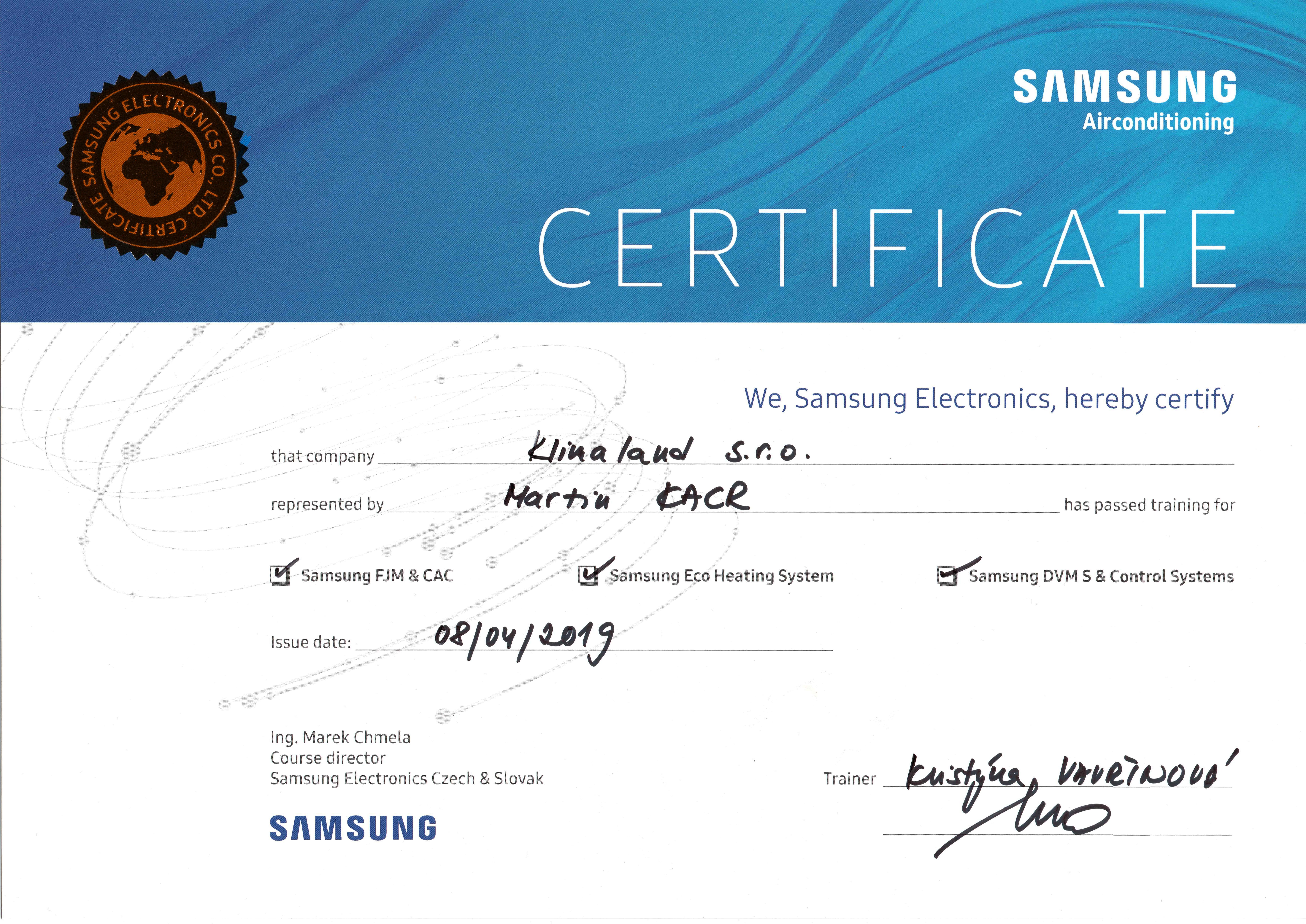 Certifikat Samsung klimatizace